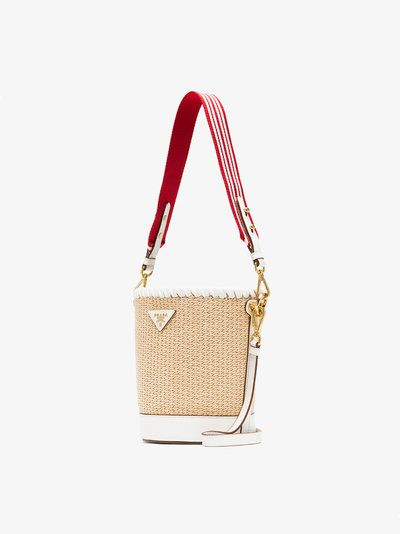 87797627c9ef5c ... new style prada white nude and red logo raffia bucket bag 70c6d 382f8