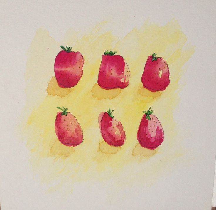 First attempt drawing strawberries illustration style with watercolor.