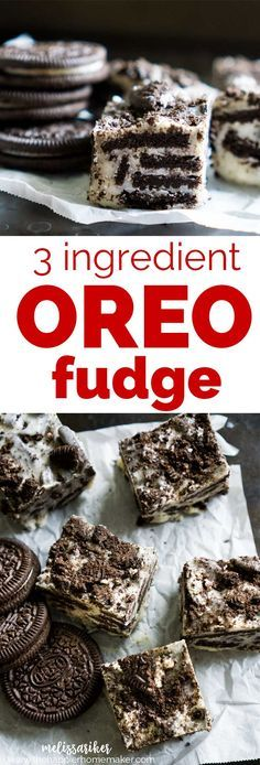 Delicious 3 ingredient OREO cookie white chocolate fudge is always a big hit and a super simple dessert recipe.