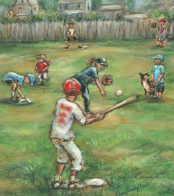 "Baseball sports art Kids children Playing ""Back Lot Baseball"" by Laurie Shanholtzer"