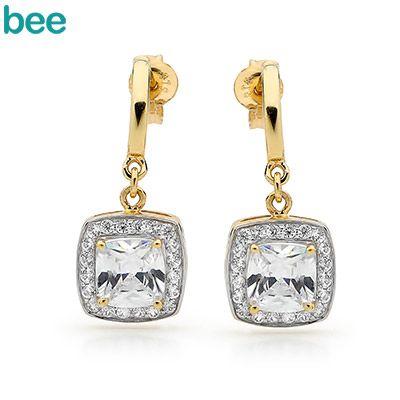 Cubic Zirconia Ballroom Earrings - Gold