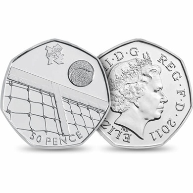London 2012 Olympics - #Tennis 50p #coin  Posted on etsy.com