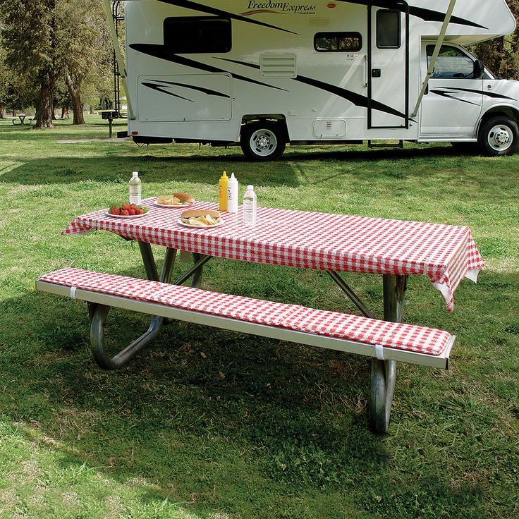 Tablecloth Amp Padded Bench Cushions Picnic Table Bench