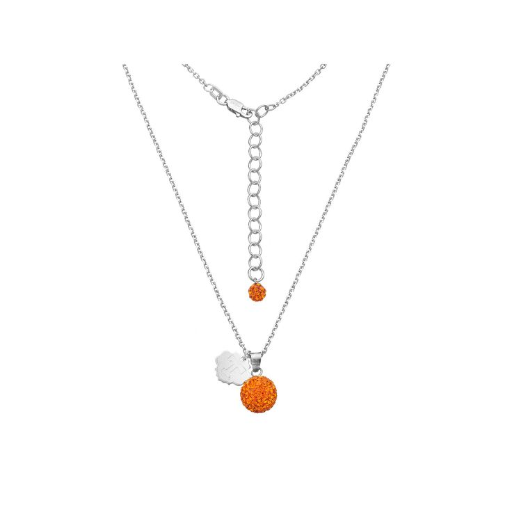 """Tennessee Volunteers Crystal Sterling Silver Team Logo & Ball Pendant Necklace, Women's, Size: 18"""", Orange"""