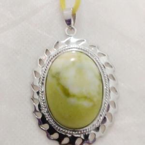 Liontin Batu Lemon Frame Rhodium