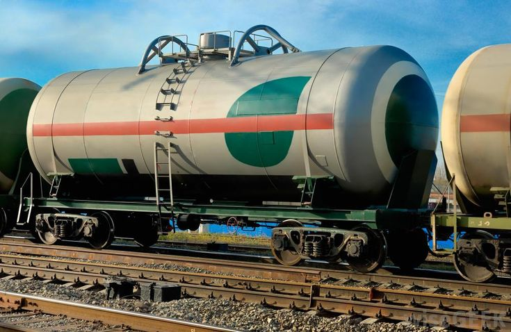 Tank car used to transport liquefied natural gas. Gas