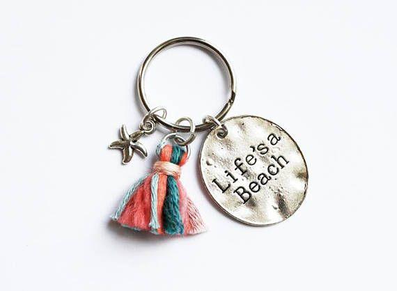 Life's A Beach Keychain - Handmade Tassel - Starfish Charm - Wanderlust Travel Token - Bohemian Keyring - Wool Tassel - Gifts For Her