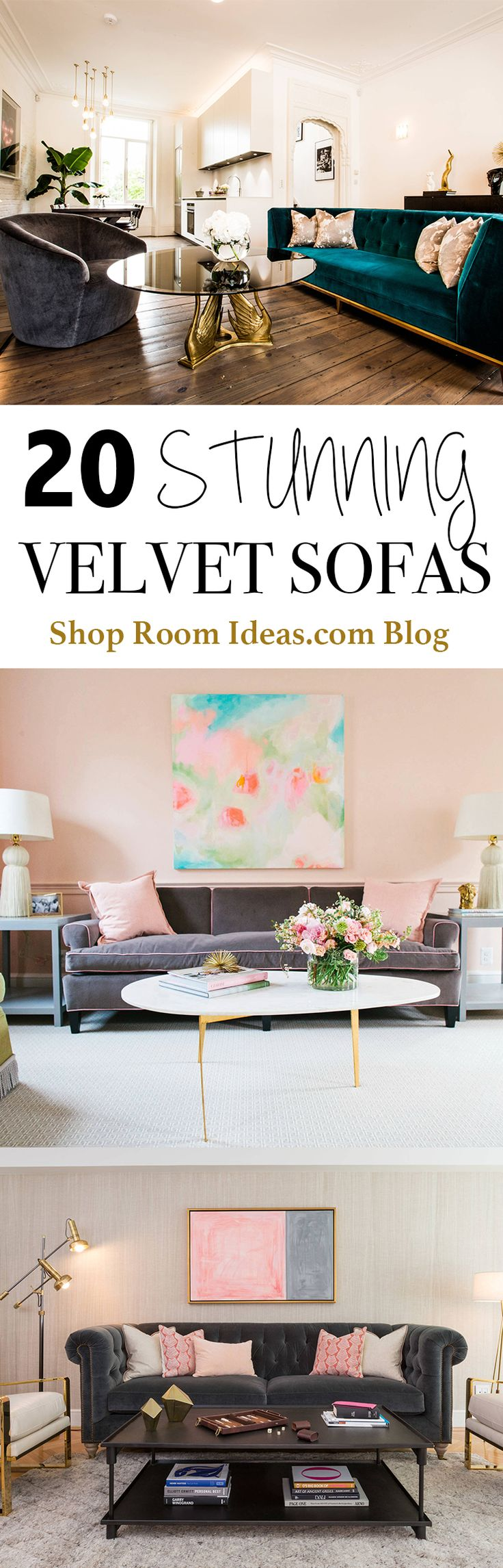 Which type of Velvet sofa should you buy for your home? From tuxedo to chesterfield sofas, they come in emerald, pink, blue, grey, and more! #mid #century #design #loft #apartment #ideas #inspiration #pink #walls #gray #living #room #design #mid #century #traditional