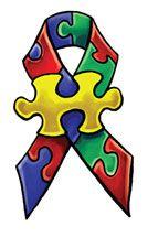Autism Awareness Ribbon with Jigsaw Puzzle Piece Tattoo Design