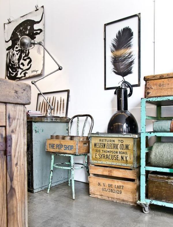 Les 75 meilleures images du tableau brocante industrielle for Decoracion retro industrial