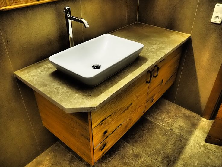 Simple Waschtisch Waschbecken Schrank Dunkel Eiche Fotos With Waschtisch  Holz Selber Bauen