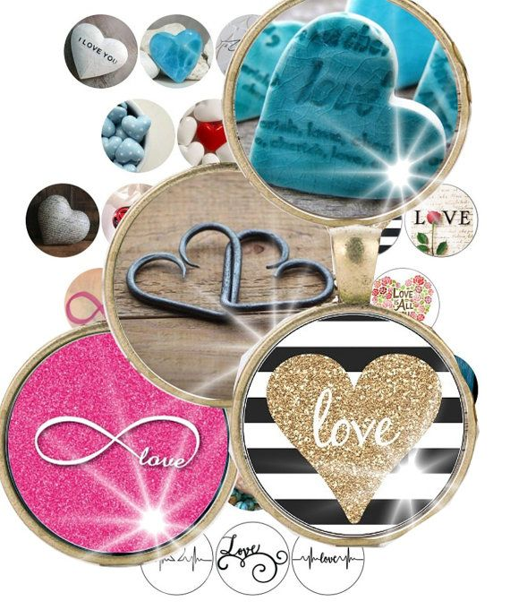 Digital Collage Sheet Hearts Love Infinity by ThePrintablesWorld
