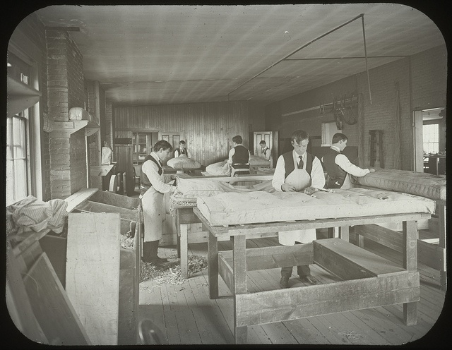 Mattresses Manufactured by the Blind, Work Department, Perkins Institution, circa 1860. Visit the Perkins Archives Flicker page: http://www.flickr.com/photos/perkinsarchive/collections/