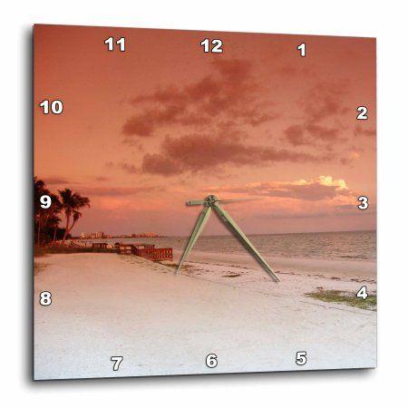 3dRose Beachy Peach, Wall Clock, 15 by 15-inch