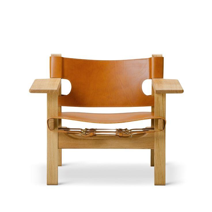 Den spanske stol fåtölj - Den spanske stol fåtölj - såpad ek, cognacsfärgat läder