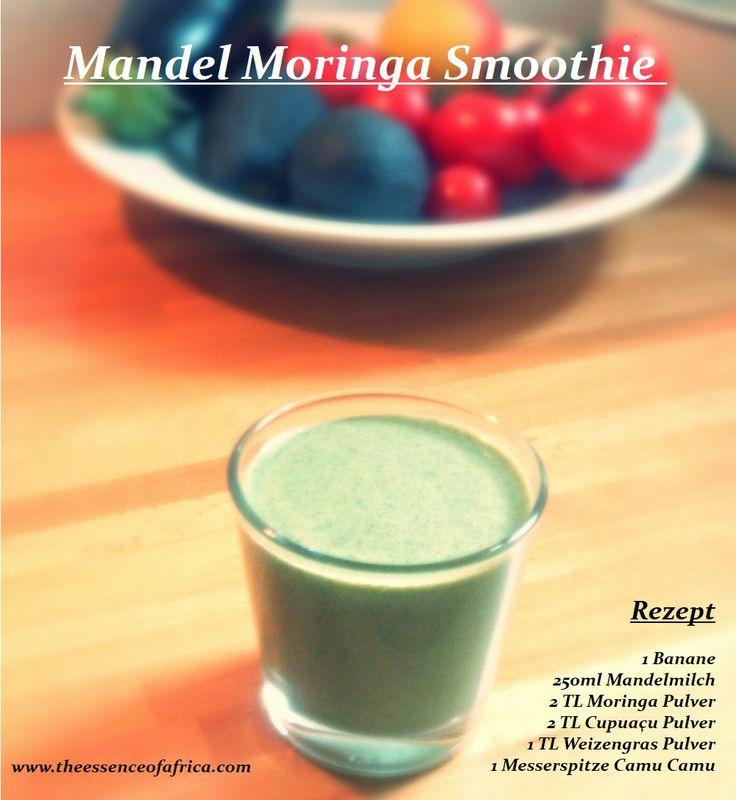 Toller Mandelmilch #Moringa #Smoothie mit vielen #Antioxidantien.  Rezept: 1 Banane 250ml Mandelmilch 2 TL Moringa Pulver von www.theessenceofafrica.com 2 TL Cupuacu Pulver 1 TLL Weizengras Pulver 1 Messerspitze Camu Camu