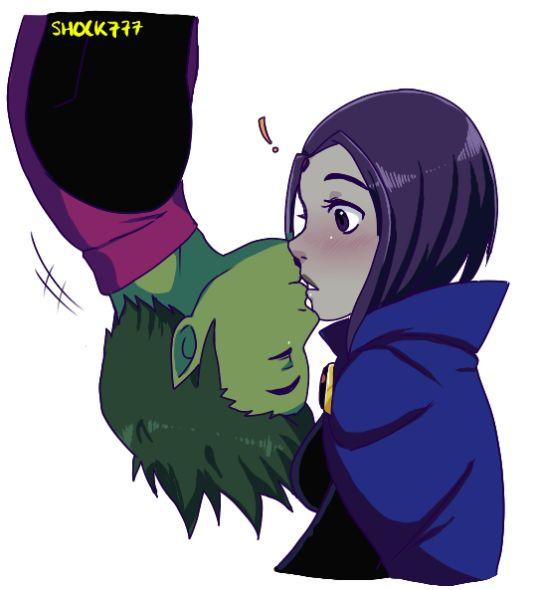 Beast Boy surprises Raven with a kiss
