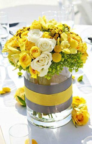 centre-table-mariage-jaune-et-gris
