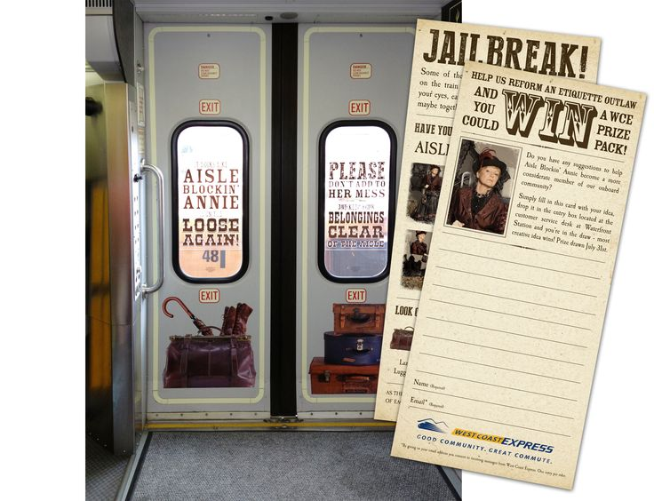 On train door decals completed as part of the ongoing West Coast Express outlaws campaign featuring Aisle Blockin Annie.