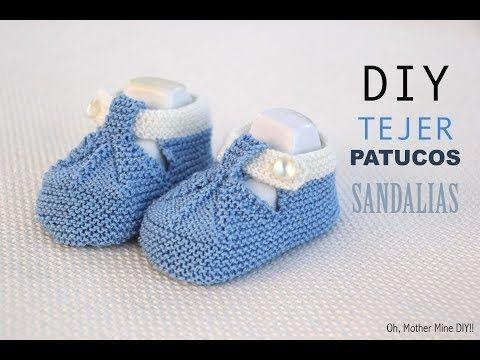 DIY Cómo tejer patucos sandalias bebe con dos agujas | Manualidades                                                                                                                                                                                 Más