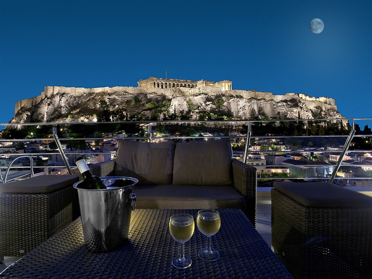 The view from the Plaka Hotel in Athens where we stayed on the last few days of our vacation. The Acropolis at night is breathtaking