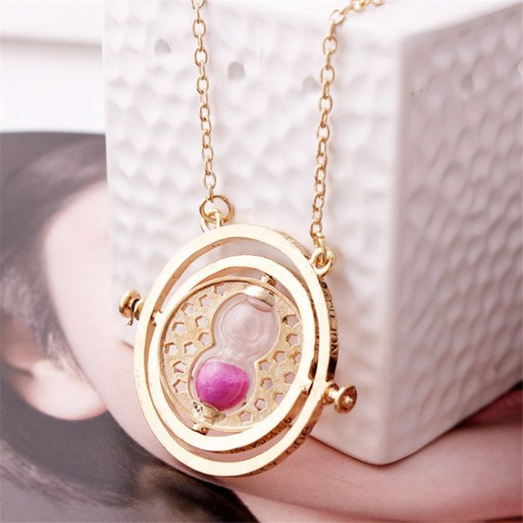 360 degree Time Converter Rotation Turner Hourglass Golden Pendant Necklace