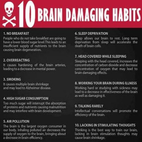 10 Brain Damaging Habits