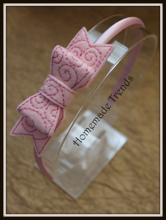 Pink Swirl 3D Bow Headband by HomemadeTrends on Etsy, $7.00