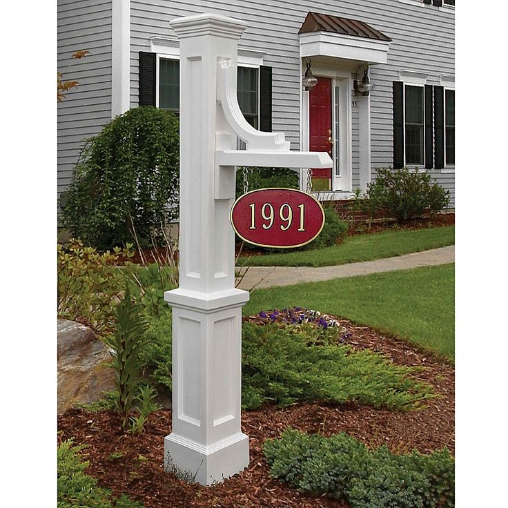 Mayne Woodhaven Address Sign Post In White in 2020