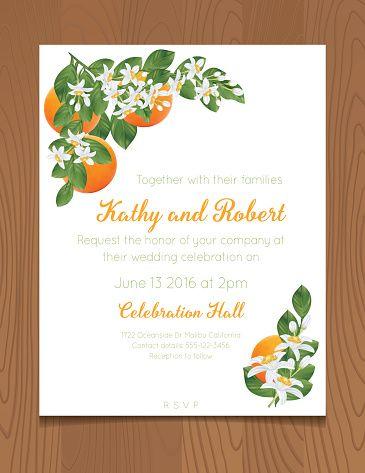 Invitación de boda con naranjas en un fondo de madera