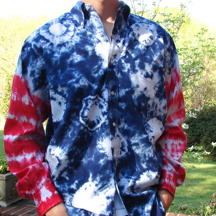 Men 39 s tie dye button up shirt patriotic tie dye shirts for Patriotic button up shirt
