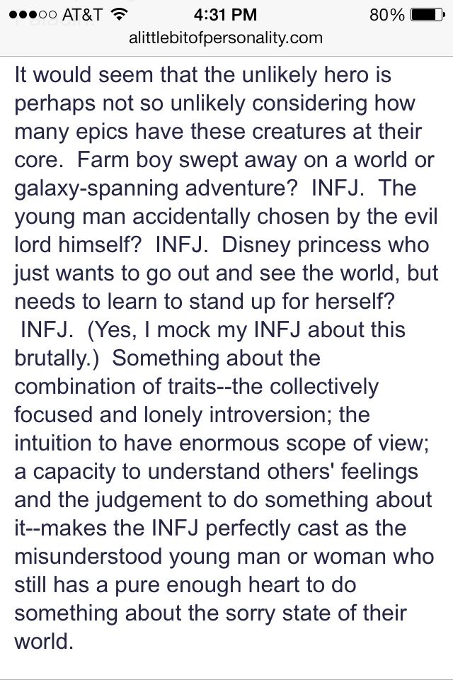 """INFJ. """"... Perfectly cast as the misunderstood young man or woman who still has a pure enough heart to do something abbot the sorry state of their world."""""""