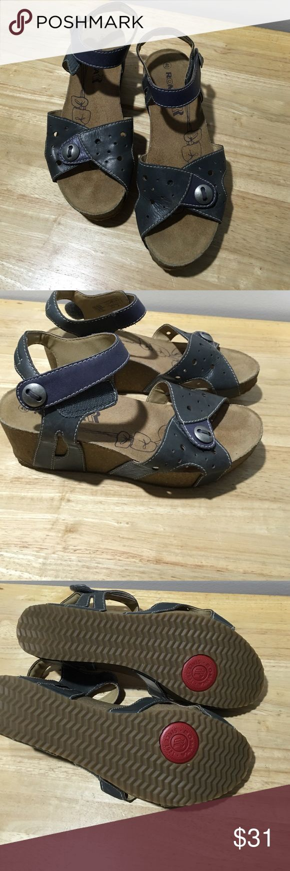 Romika Sandals Sz 40 US 10 Blue Romika Sandals Size 49. Us 10 Leather Wedge Heel Adjustable Strap. A little stained. Romika Shoes Wedges