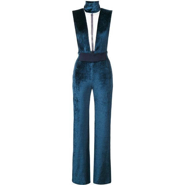 Galvan fitted plunge jumpsuit ($1,595) ❤ liked on Polyvore featuring jumpsuits, blue, blue jump suit, plunge jumpsuit, fitted jumpsuit, blue jumpsuits and jump suit