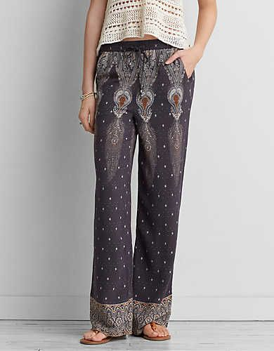 AEO Wide Leg Soft Pant, Black | American Eagle Outfitters