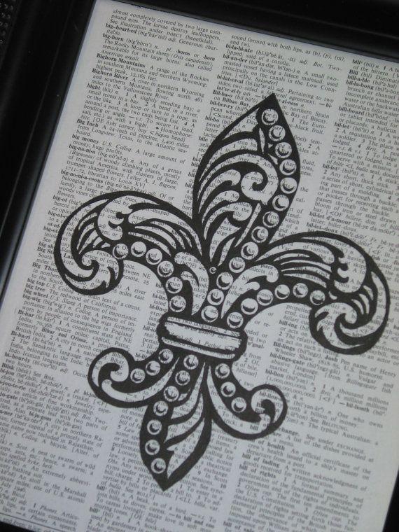 Fleur de Lis Art Print Upcycled Dictionary by HamiltonHousePrints