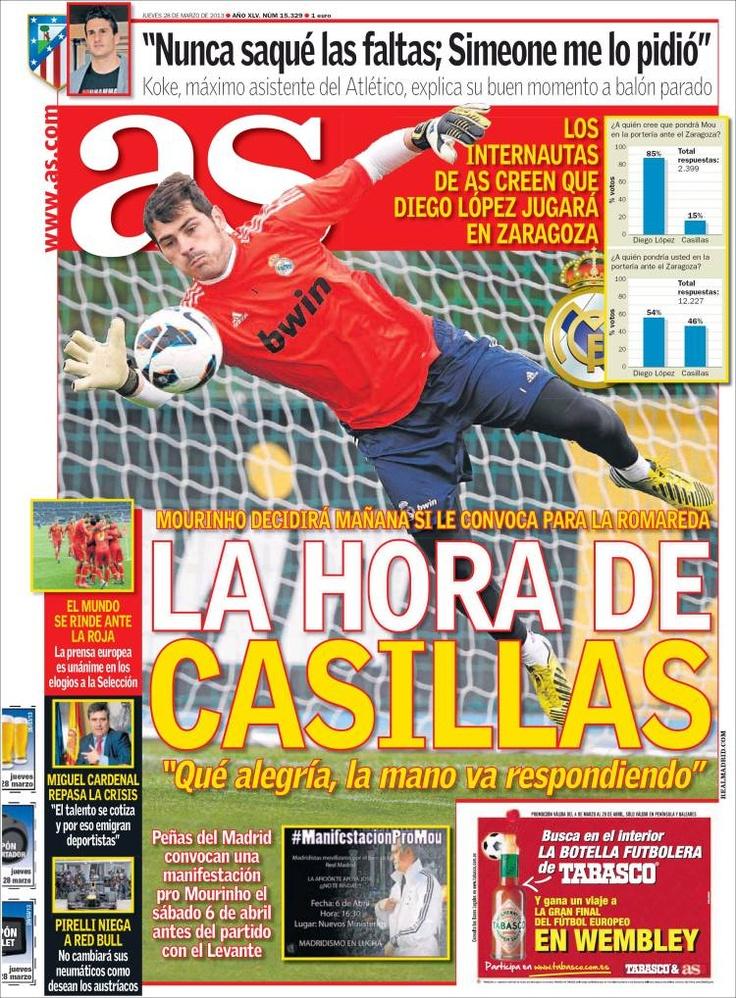 Los Titulares y Portadas de Noticias Destacadas Españolas del 28 de Marzo de 2013 del Diario Deportivo As ¿Que le parecio esta Portada de este Diario Español?