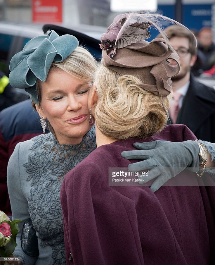 Queen Mathilde of Belgium (L) and Queen Maxima of the Netherlands greet each other as they visit the new Utrecht Central station and travel by Dutch Royal Train on November 30, 2016 in Utrecht, Netherlands. (Photo by Patrick van Katwijk/Getty Images)
