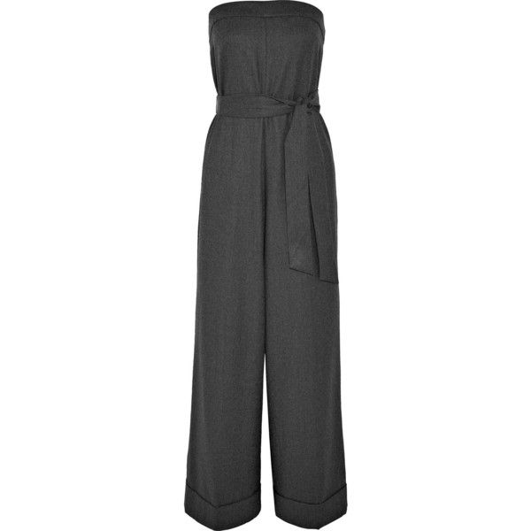 J.Crew Draft strapless wool jumpsuit (€340) via Polyvore featuring jumpsuits, wool jumpsuit, j crew jumpsuit, strapless jumpsuit, wide leg jumpsuit and gray jumpsuits