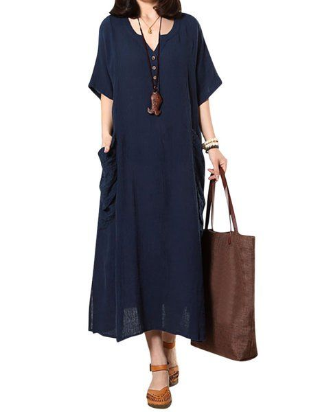 d2296c03ae Buy Dresses For Women at Popjulia. Online Shopping Plus Size V neck Women  Dress Shift Linen Pockets Solid Short Sleeve Maxi Dress
