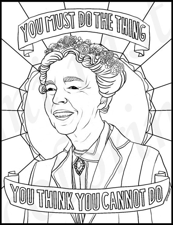 National Women's History Month coloring pages: Eleanor Roosevelt | Feminist Coloring