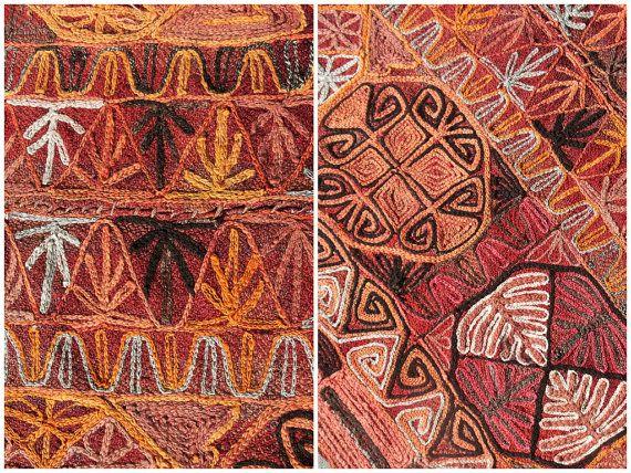 Vintage Kilim Rug Embroidered Marsh Arabs By