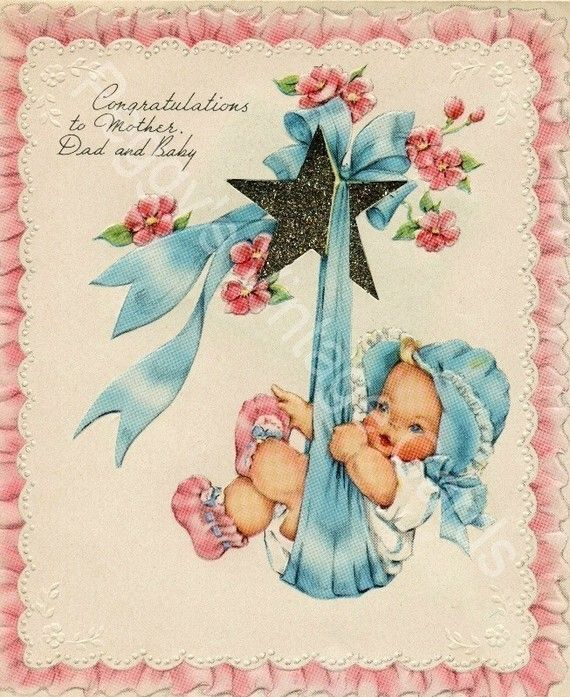 375 Vintage New Baby Greeting Card Images  by PeggyLovesVintage