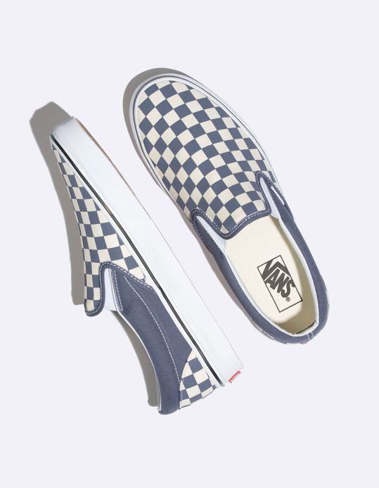 aca0c396e48f4e Vans Checkerboard Grisaille   True White Classic Slip-On Shoes ...