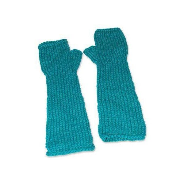 NOVICA Alpaca blend fingerless gloves (145 BRL) ❤ liked on Polyvore featuring accessories, gloves, clothing & accessories, green, green fingerless gloves, fingerless arm warmers, novica, green gloves and fingerless gloves