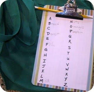 Alphabet scavenger hunt. idea to keep the kids busy?