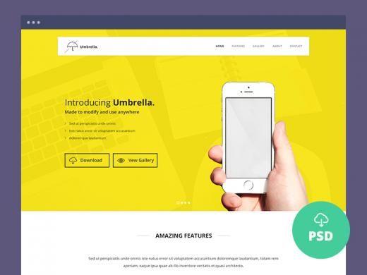 Umbrella - Ultimate App Landing Page PSD Template | TheFreebieBay.com