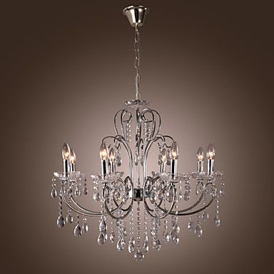 Modern Candle Featured Crystal Chandeliers with 8 Lights – USD $ 299.99
