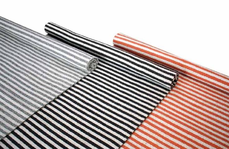 STRIPE CARPET by TIKAU / Colors:  gray/white, black/white, orange/white /  Non dyed wool or natural dyes. / Sizes :  170 x 250 cm, 140 x 200 cm, 80 x 180 cm, 80 x 120 cm and  50 x 90 cm