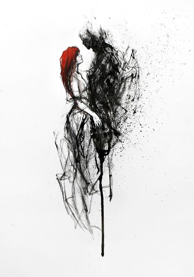Glorious Wounds - Ink drawing by Italian artist Silvia Pelissero also known as Agnes Cecile.
